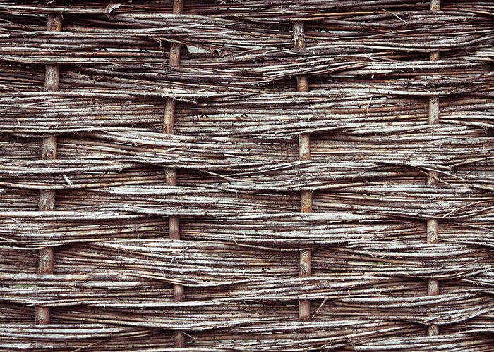 Architecture Greeting Card featuring the photograph Reed Fence by Tom Gowanlock