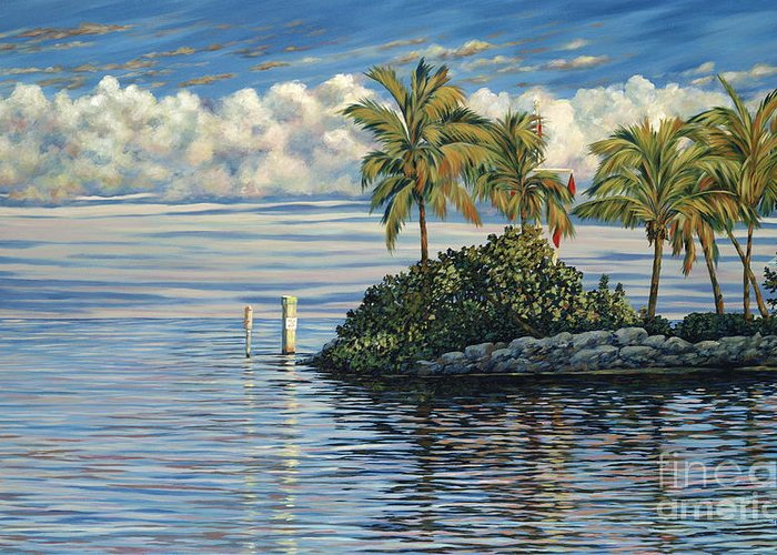 Ocean Reef Club Greeting Card featuring the painting Reef Channel by Danielle Perry
