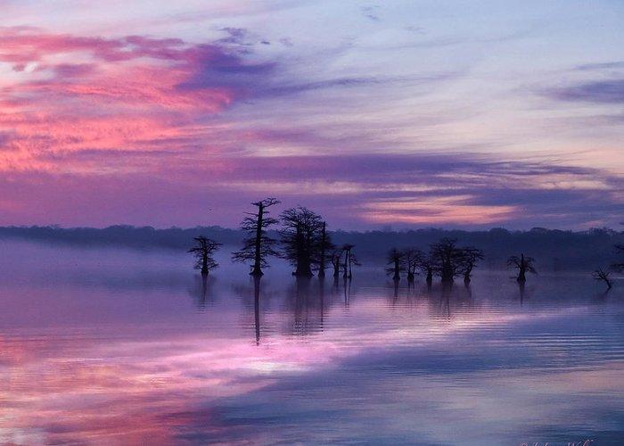J Larry Walker Greeting Card featuring the digital art Reelfoot Lake Sunrise by J Larry Walker