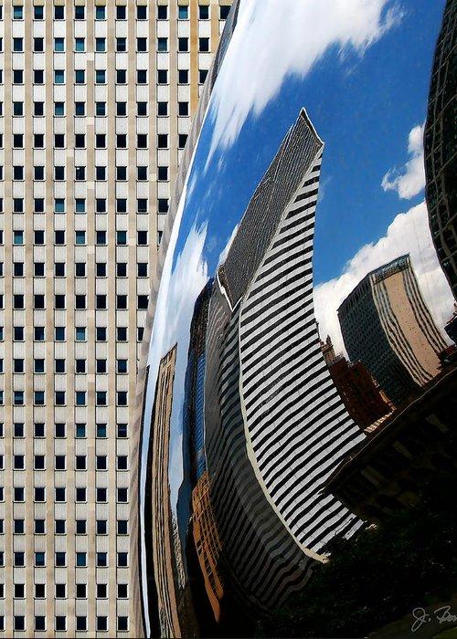 The Bean Greeting Card featuring the photograph Reflected City by Joe Bonita