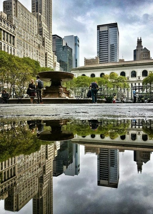 Bryant Park Greeting Card featuring the photograph Reflecting In Bryant Park by Shmuli Evers