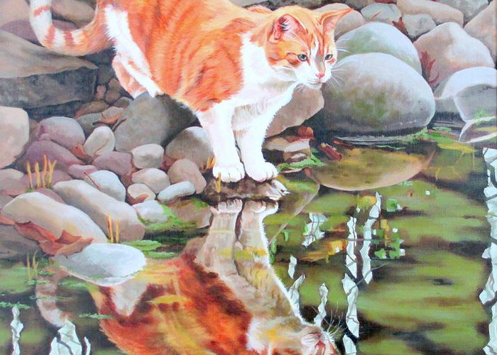 Cat Greeting Card featuring the painting Reflecting by Sandra Chase