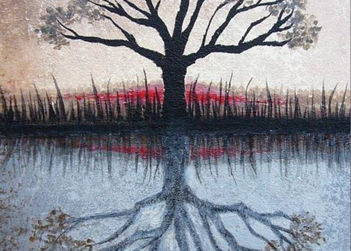Tree Greeting Card featuring the painting Reflecting Tree by Janet King