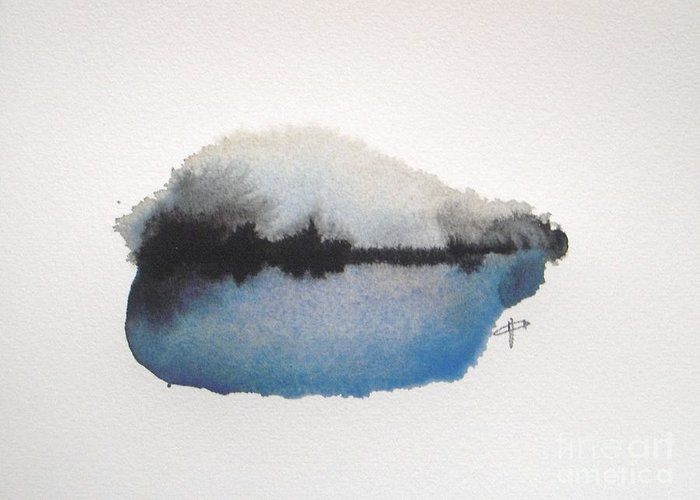 Abstract Greeting Card featuring the painting Reflection in the lake by Vesna Antic