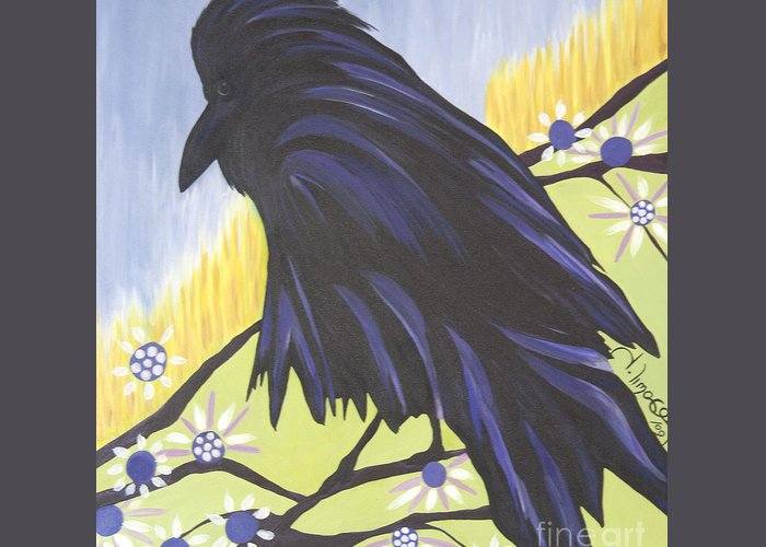 #raven Greeting Card featuring the painting Reflection by Jacquelinemari