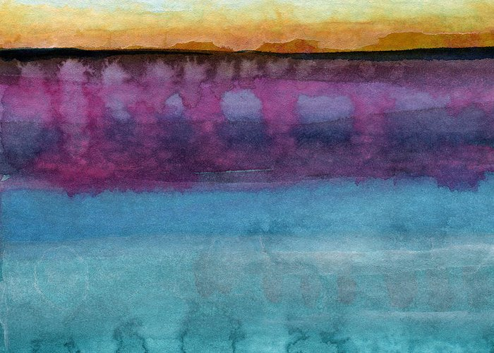 Abstract Landscape Painting Greeting Card featuring the painting Reflection by Linda Woods