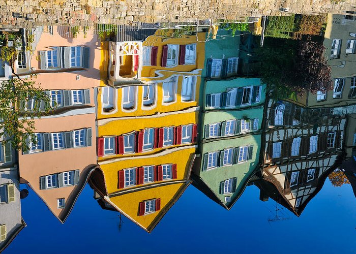 Reflection Greeting Card featuring the photograph Reflection Of Colorful Houses In Neckar River Tuebingen Germany by Matthias Hauser