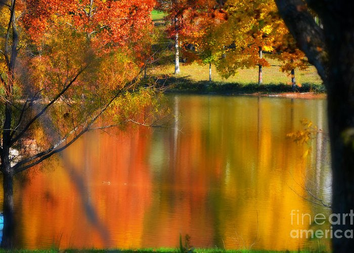 Autumn Greeting Card featuring the photograph Reflection Of My Thoughts Autumn Reflections by Peggy Franz