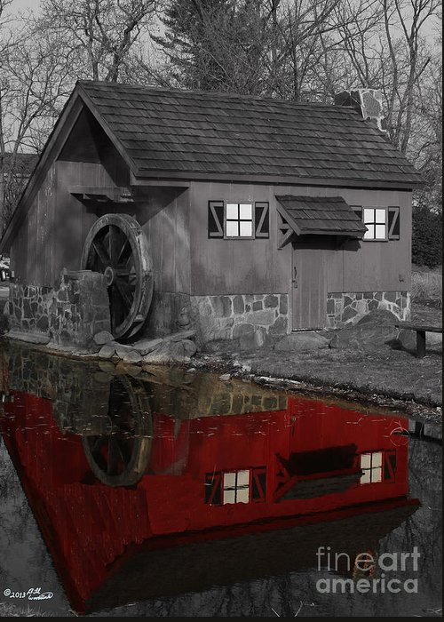 Colorkey Greeting Card featuring the photograph Reflection Of Red Mill by Bill Woodstock