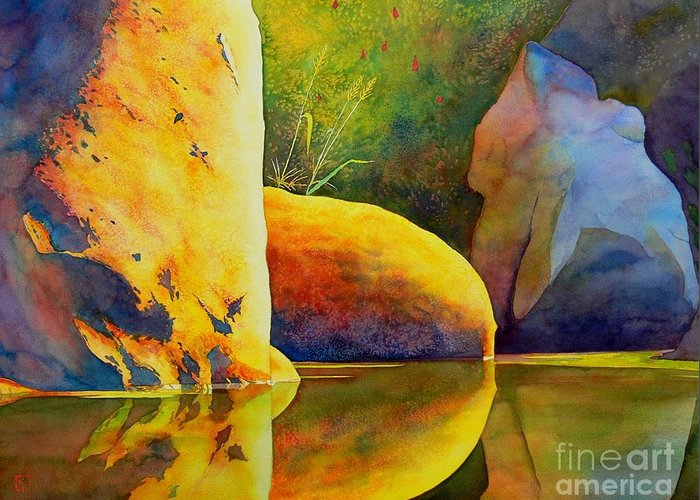 Watercolor Greeting Card featuring the painting Reflection by Robert Hooper