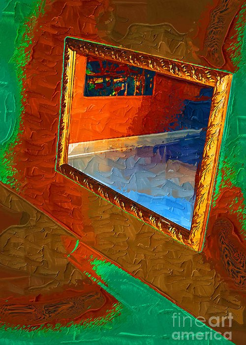 Framed Greeting Card featuring the painting Reflections In The Mirror by Jonathan Steward