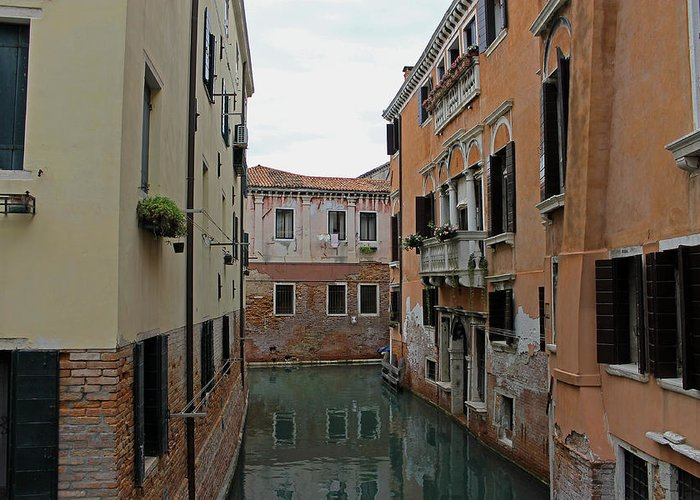 Venice Greeting Card featuring the photograph Reflections In Venetian Canal by Tony Murtagh