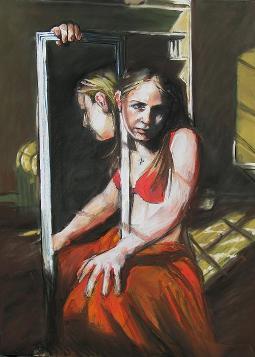 Girl With Mirror Greeting Card featuring the painting Reflections by Michelle Winnie