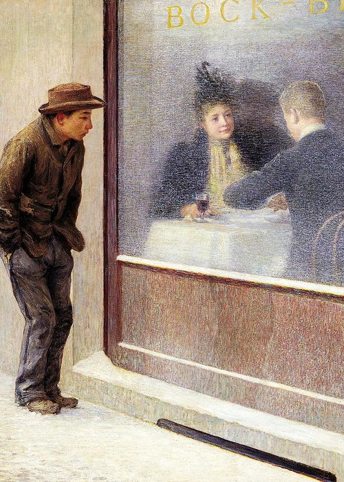 Painting; 19th Century Painting; Europe; Italy; Longoni Emilio; Poverty; Post-impressionism Greeting Card featuring the painting Reflections Of A Hungry Man Or Social Contrasts by Emilio Longoni