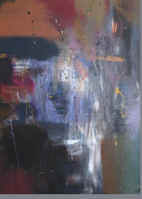 Abstract Greeting Card featuring the painting Reflections Of Me by Robyn Punko