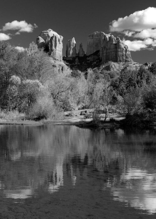 Sedona Greeting Card featuring the photograph Reflections Of Sedona Black And White by Joshua House
