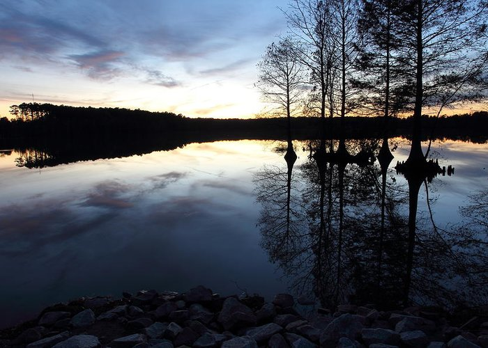 Lake Greeting Card featuring the photograph Reflections On Lake At Sunset by April Copeland