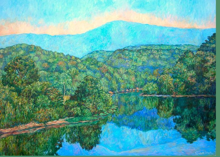 Mountainscape Greeting Card featuring the painting Reflections On The James River by Kendall Kessler