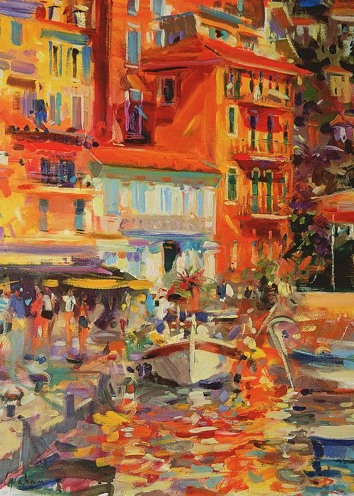 Reflection; French; Riviera; Resort; Exotic; Boat; Neo-impressionist; Provence; Le Midi; Cote D'azure; Harbour Greeting Card featuring the painting Reflections - Villefranche by Peter Graham