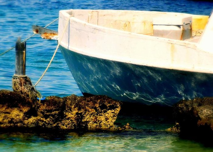 Boats Greeting Card featuring the photograph Reflective Bow by Karen Wiles