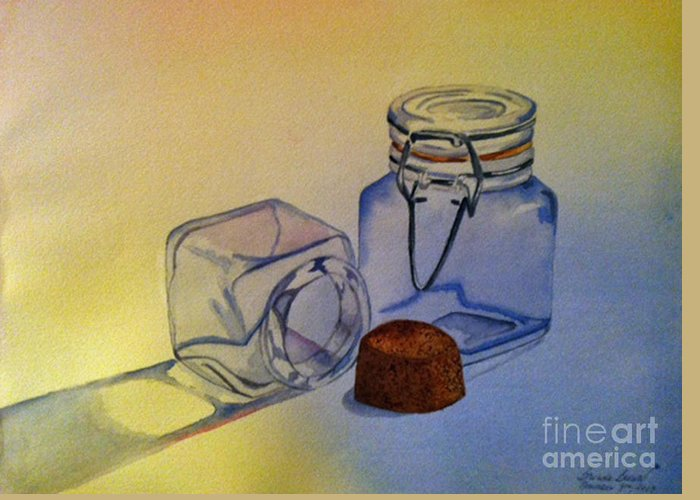 Jar Greeting Card featuring the painting Reflective Still Life Jars by Brenda Brown