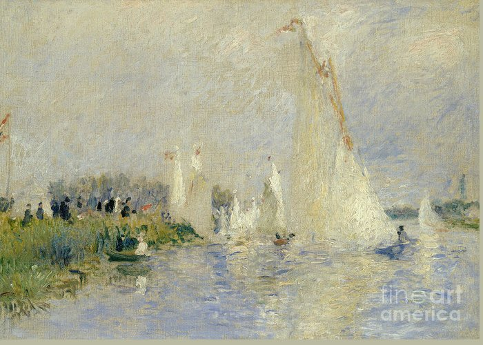 River; Impressionist; Boat; Leisure; Summer; France; Sailing Greeting Card featuring the painting Regatta At Argenteuil by Pierre Auguste Renoir