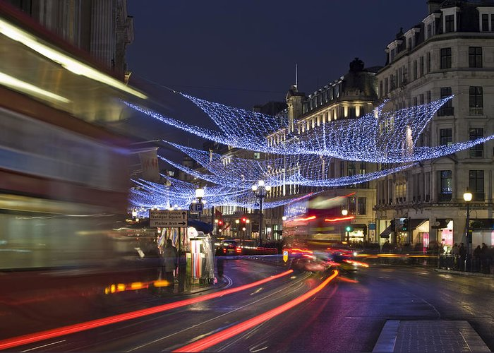 Regent Greeting Card featuring the photograph Regent Street Lights by Matthew Gibson