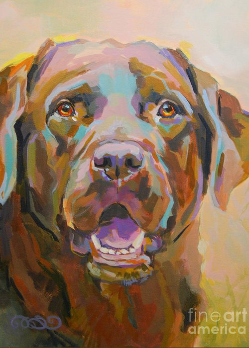 Chocolate Lab Greeting Card featuring the painting Reilly by Kimberly Santini