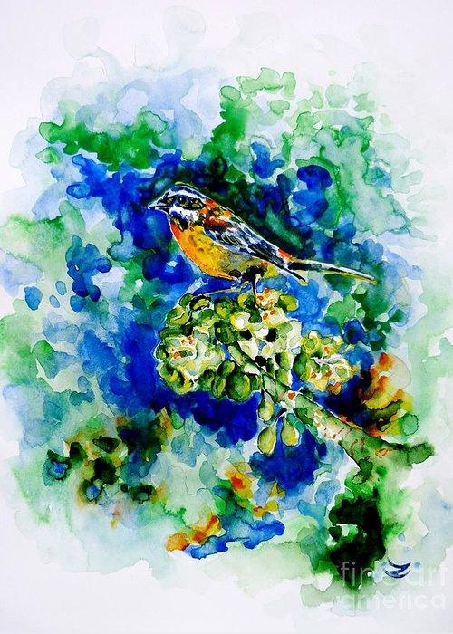 Eina Mora Greeting Card featuring the painting Reina Mora by Zaira Dzhaubaeva