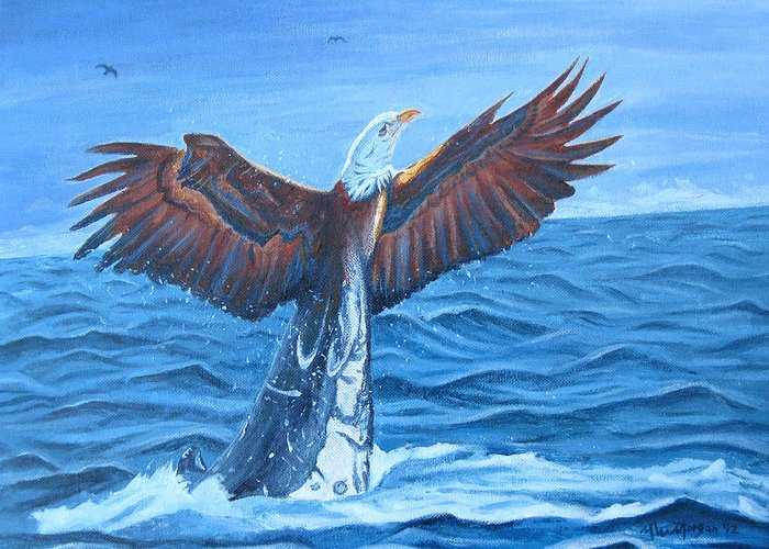 Eagle Greeting Card featuring the painting Reincarnation by Michael Morgan