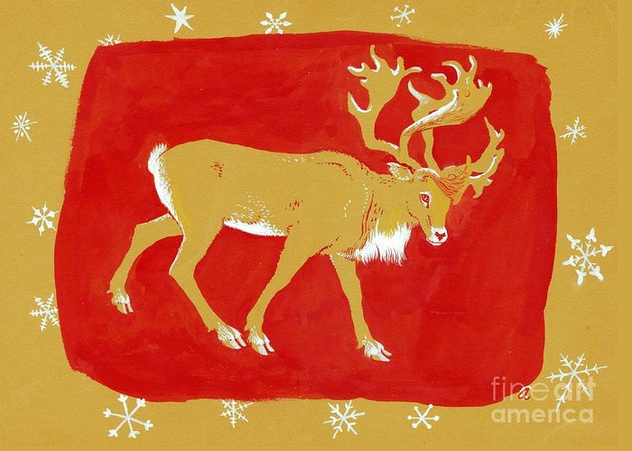 Christmas Card Greeting Card featuring the painting Reindeer by George Adamson