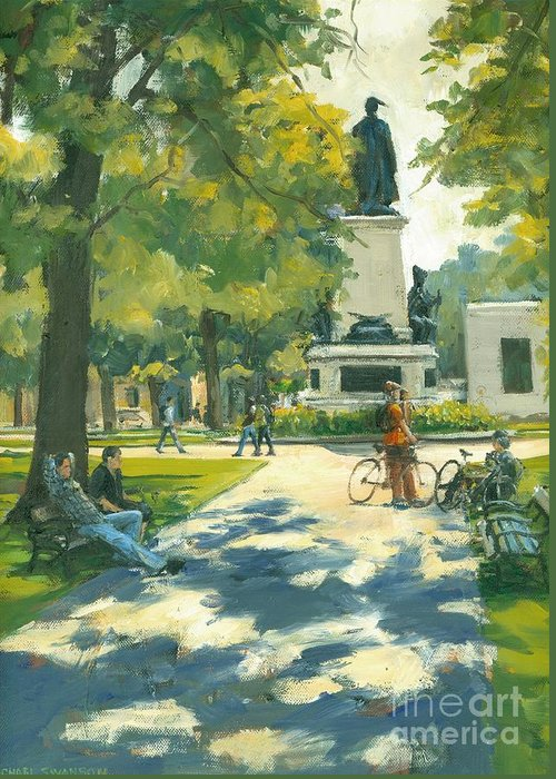 Victoria Park Greeting Card featuring the painting Relaxing by Michael Swanson