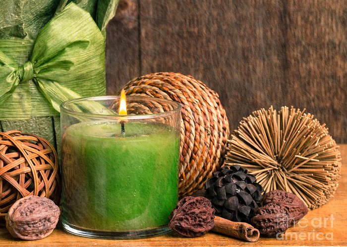 Aromatherapy Greeting Card featuring the photograph Relaxing Spa Candle by Edward Fielding