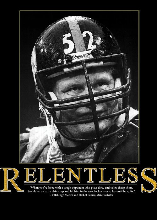 Retro Images Archive Greeting Card featuring the photograph Relentless Mike Webster by Retro Images Archive