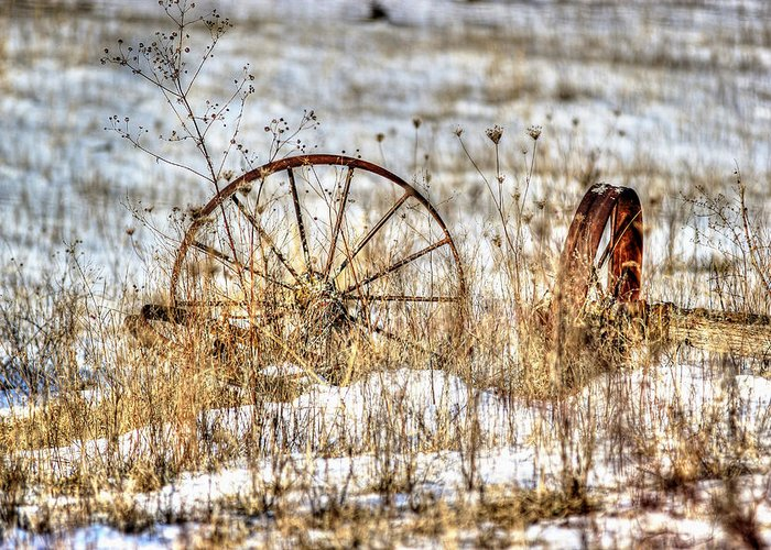 Wagon Wheels Greeting Card featuring the photograph Relic by Thomas Danilovich