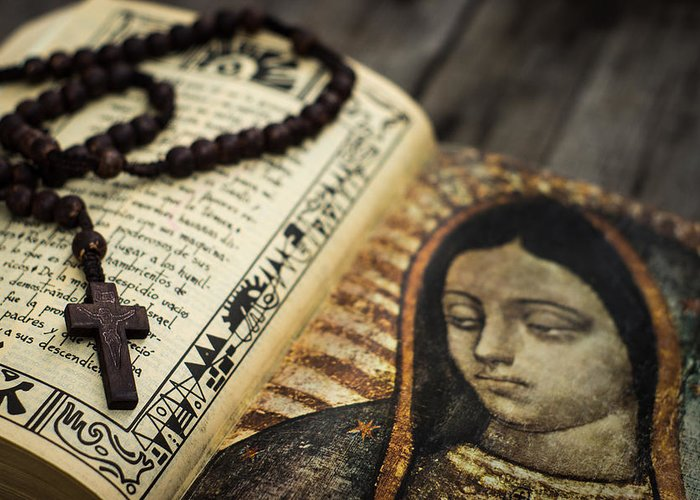 Rosary Greeting Card featuring the photograph Religious Concept by Aged Pixel