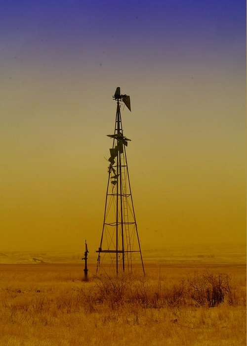 North Dakota Greeting Card featuring the photograph Remains Of An Old Windmill by Jeff Swan