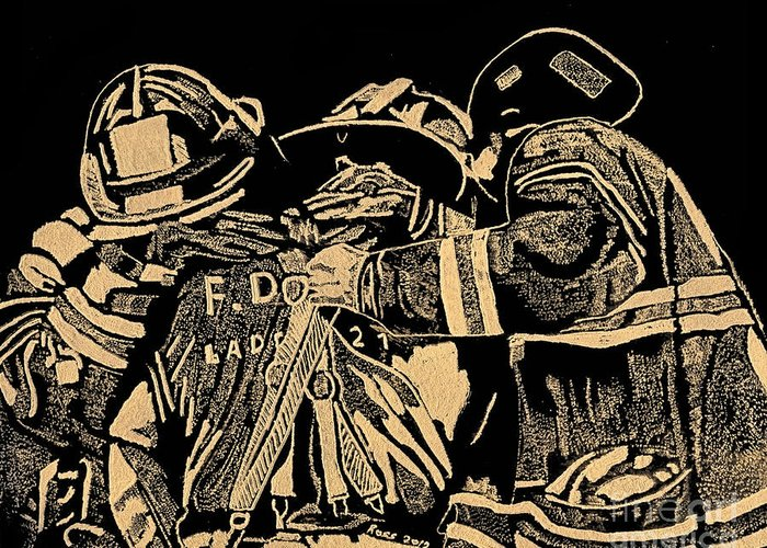 Fireman Greeting Card featuring the relief Remember Me by Jim Ross
