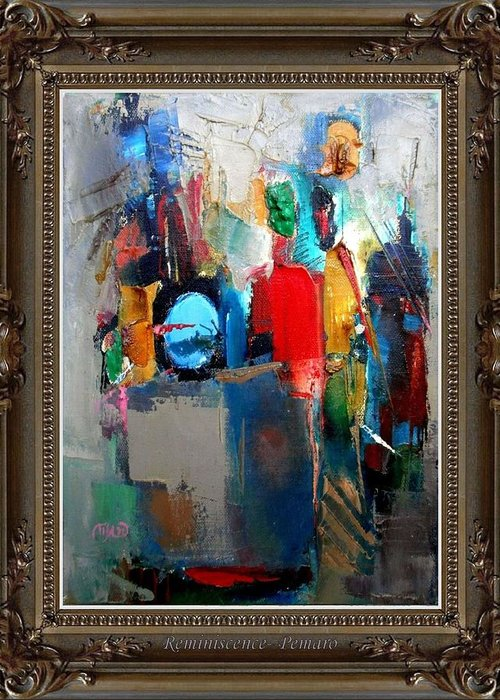 Abstract Greeting Card featuring the painting Reminiscence by Pemaro