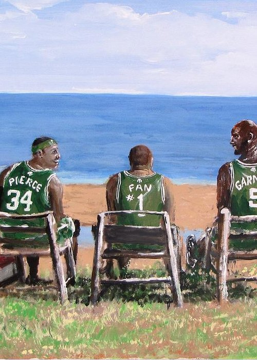 Boston Greeting Card featuring the painting Reminiscing The Good Old Days by Jack Skinner