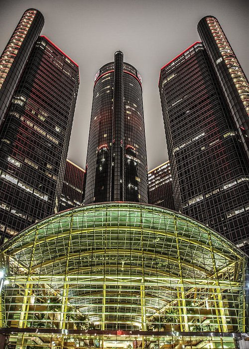 Renaissance Center Greeting Card featuring the photograph Renaissance Center Detroit Michigan by Nicholas Grunas