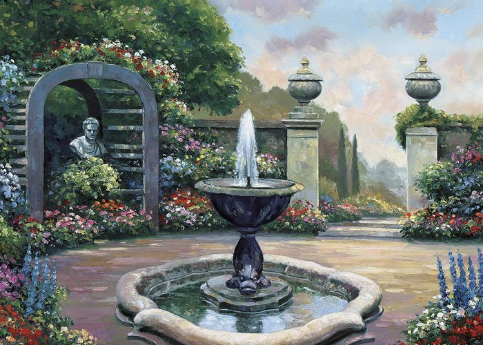 Pallet Greeting Card featuring the painting Renaissance Garden by John Zaccheo