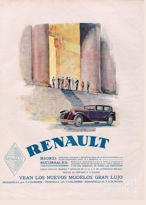 Adverts Greeting Card featuring the drawing Renault 1930 1930s Usa Cc Cars by The Advertising Archives