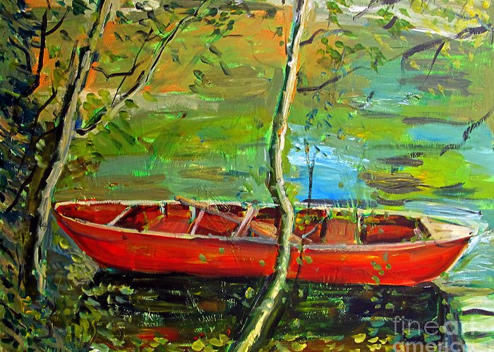 Renoir Greeting Card featuring the painting Renoirs Canoe by Charlie Spear