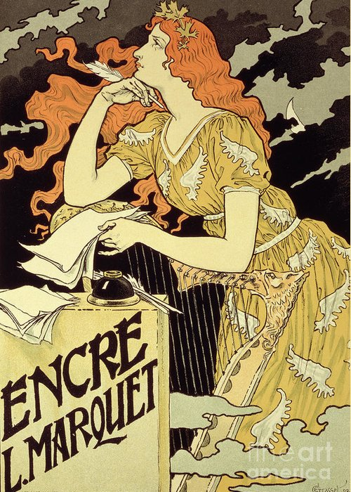 Advert; Advertisement; Letter; Writing; Ink Well; Harp; Quill; Thinking; Pensive; Encre L; Marquet; Art Nouveau; Female Greeting Card featuring the drawing Reproduction Of A Poster Advertising 'marquet Ink' by Eugene Grasset