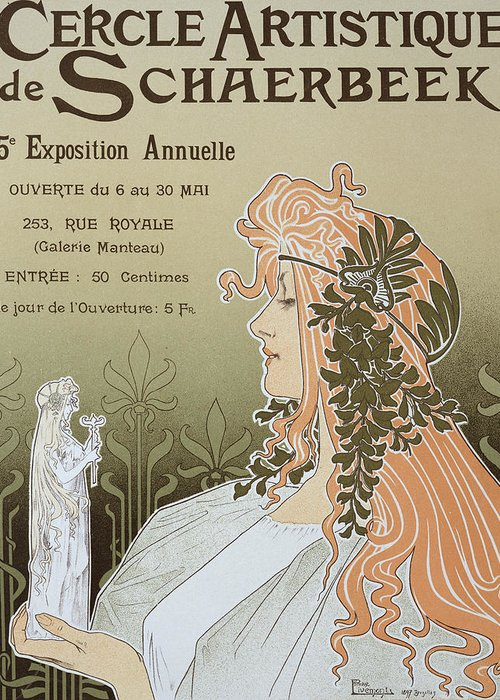 Advert; Advertisement; Female; Flowers; Garland; Art Nouveau Style; Statuette; Exposition; Gallery Greeting Card featuring the drawing Reproduction Of A Poster Advertising 'schaerbeek's Artistic Circle by Livemont