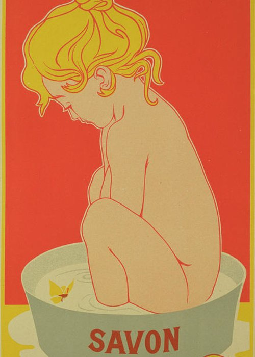 Reproduction Of A Poster Advertising Greeting Card featuring the drawing Reproduction Of A Poster Advertising Starlight Soap by Henri Meunier