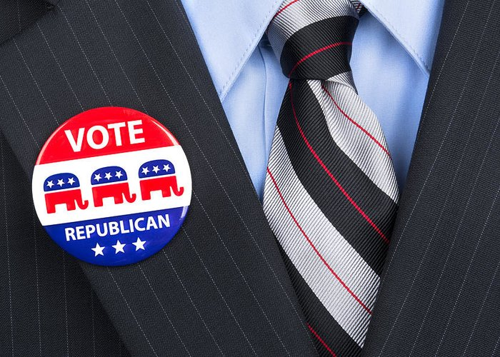 Man Greeting Card featuring the photograph Republican Vote Pin by Joe Belanger