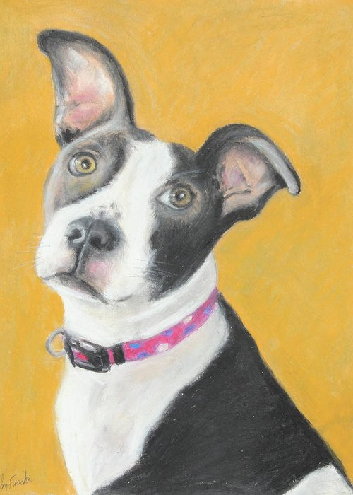 Animal Greeting Card featuring the painting Rescued Pit Bull by Jeanne Fischer