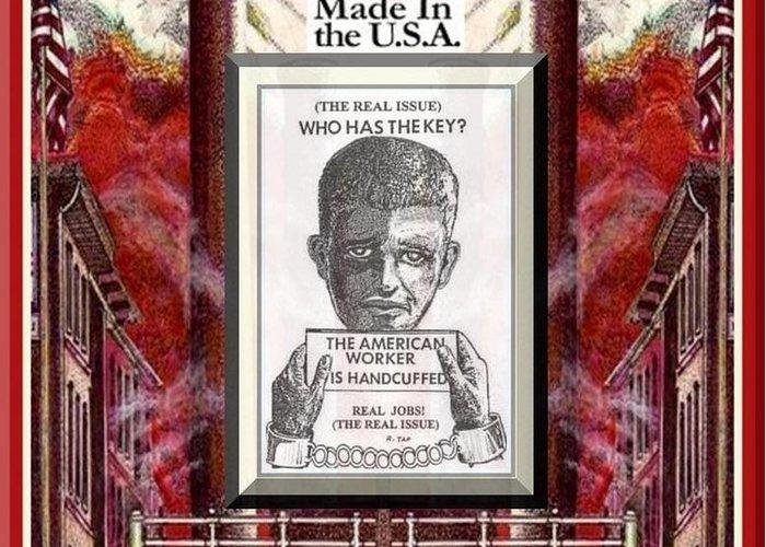 American Dream Reversed Greeting Card featuring the digital art Reshoring The American Dream by Ray Tapajna